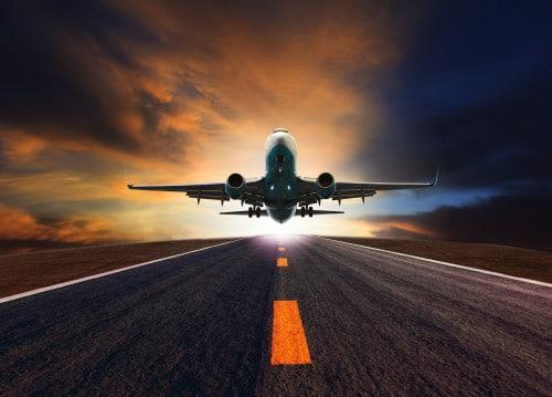 Airplane taking off Kyrstal Cancun Timeshare