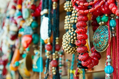 Traditional jewelry being sold in the local markets